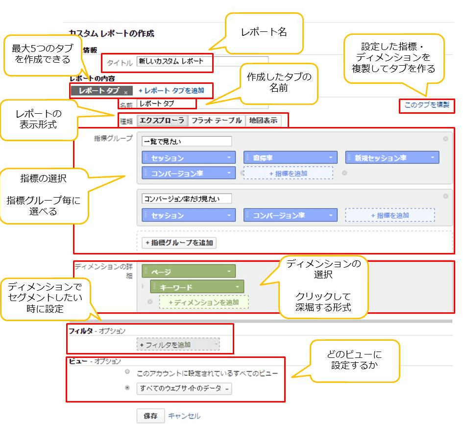 カスタムレポートの作成画面【エクスプローラ】の図